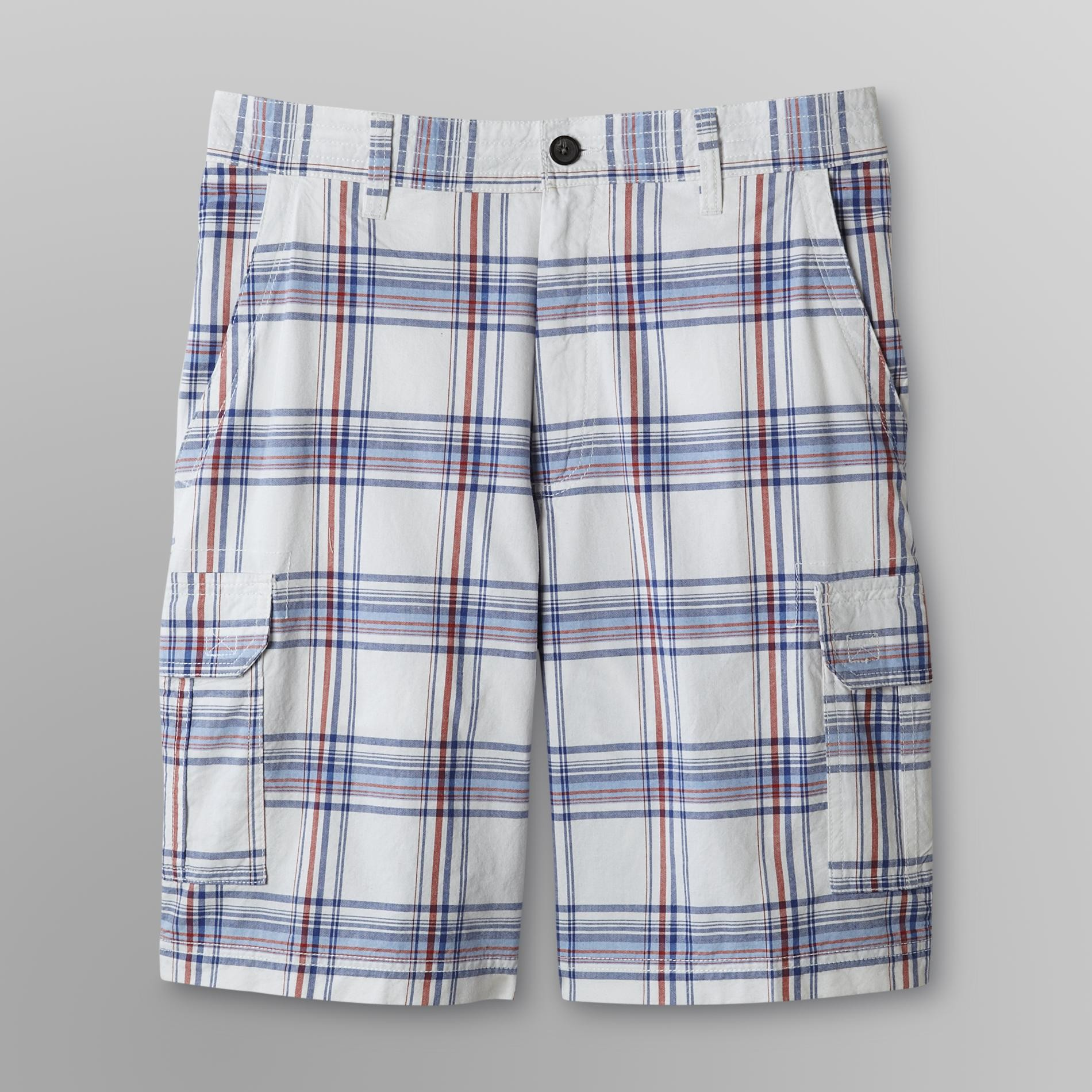 Basic Editions Men's Cargo Shorts - Plaid at Kmart.com