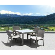 Atlantic Barbados 5 Piece Grey Synthetic Wicker Patio Dining Set With Off-White Cushions at Kmart.com
