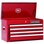 Craftsman 26 in. 4-Drawer Ball Bearing Griplatch Top Chest - Red at Kmart.com