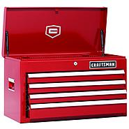 Craftsman 26 in. 4-Drawer Ball Bearing Griplatch Top Chest - Red at Sears.com
