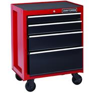 Craftsman 26 in. 4-Drawer Heavy-Duty Ball Bearing Rolling Cabinet - Red/Black at Sears.com