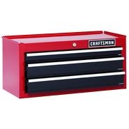 Craftsman 26 in. 3-Drawer Heavy-Duty Ball Bearing Middle Chest - Red/Black at Sears.com