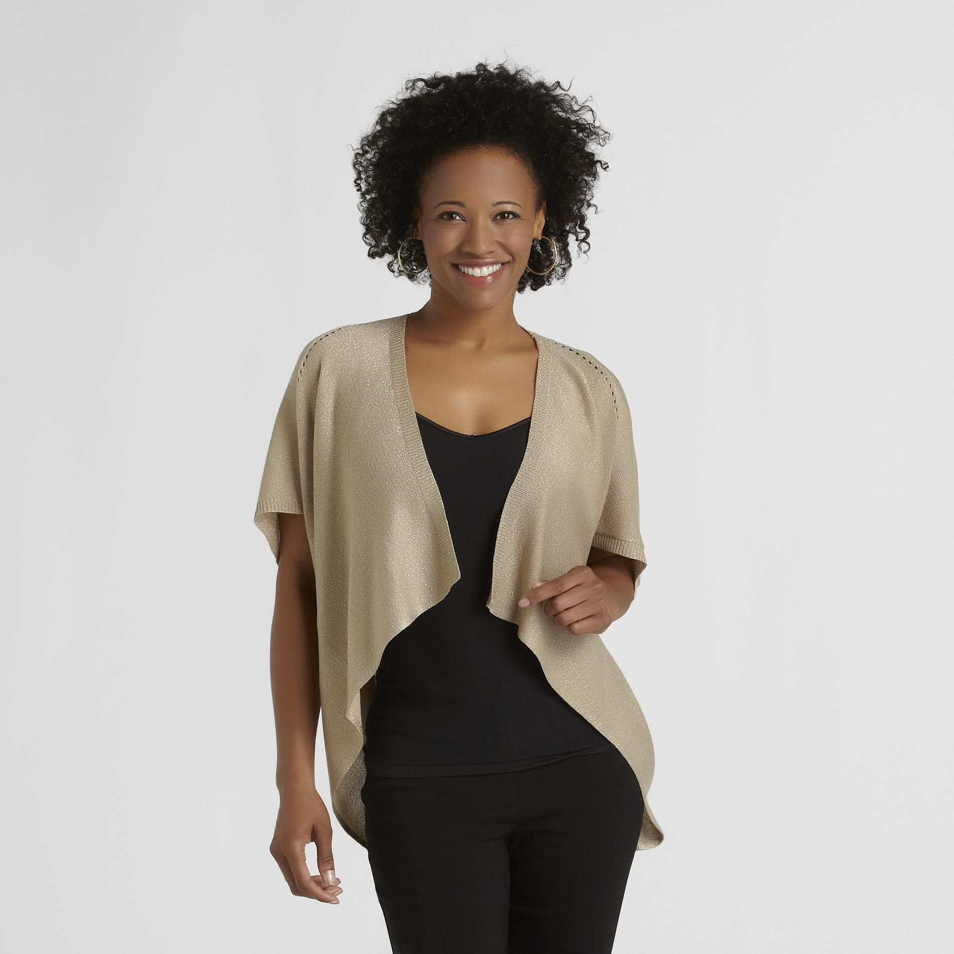 Jaclyn Smith Women's Open-Front Pointelle Cardigan at Kmart.com
