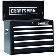 Craftsman 26 In. 5-Drawer Heavy-Duty Ball Bearing Top Chest - Black at Sears.com