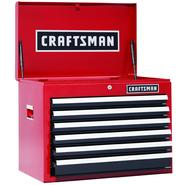 Craftsman 26 in. 6-Drawer Heavy-Duty Ball Bearing Top Chest - Red/Black at Sears.com