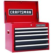 Craftsman 26 in. 5-Drawer Heavy-Duty Ball Bearing Top Chest - Red/Black at Craftsman.com