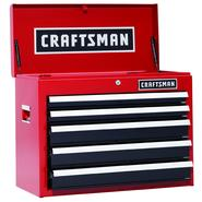 Craftsman 26 in. 5-Drawer Heavy-Duty Ball Bearing Top Chest - Red/Black at Kmart.com