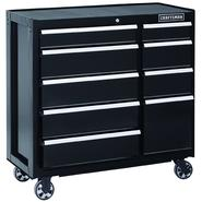 Craftsman 40 in. 9-Drawer Heavy-Duty Ball Bearing Rolling Cart - Black at Sears.com