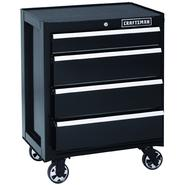 Craftsman 26 in. 4-Drawer Heavy-Duty Ball Bearing Rolling Cabinet - Black at Kmart.com