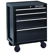 Craftsman 26 in. 4-Drawer Heavy-Duty Ball Bearing Rolling Cabinet - Black at Sears.com