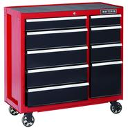 Craftsman 40 in. 9-Drawer Heavy-Duty Ball Bearing Rolling Cart - Red/Black at Sears.com