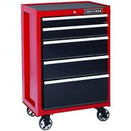 Craftsman 26 in. 5-Drawer Heavy-Duty Ball Bearing Rolling Cabinet - Red/Black at Kmart.com