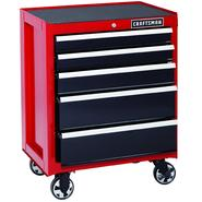 Craftsman 26 in. 5-Drawer Heavy-Duty Ball Bearing Rolling Cabinet - Red/Black at Sears.com