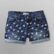 Vanilla Star Girl's Rolled Denim Shorts - Floral Print at Kmart.com