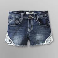 Vanilla Star Girl's Crocheted Trim Denim Shorts at Kmart.com