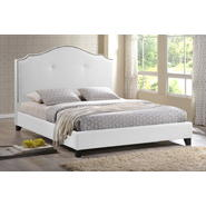 Baxton Marsha Scalloped White Modern Bed with Upholstered Headboard - Queen Size at Kmart.com
