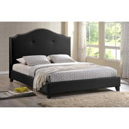 Baxton Marsha Scalloped Black Modern Bed with Upholstered Headboard - King Size at Kmart.com