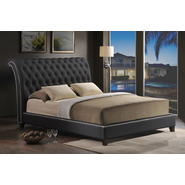 Baxton Jazmin Tufted Black Modern Bed with Upholstered Headboard - Queen Size at Kmart.com