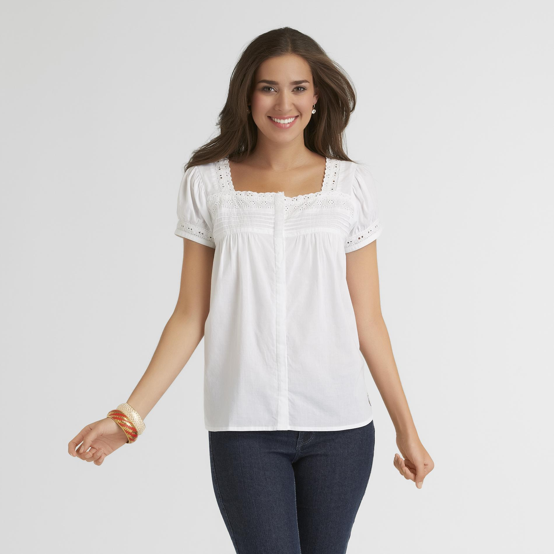 US Polo Assn. Women's Peasant Blouse - Eyelet at Sears.com