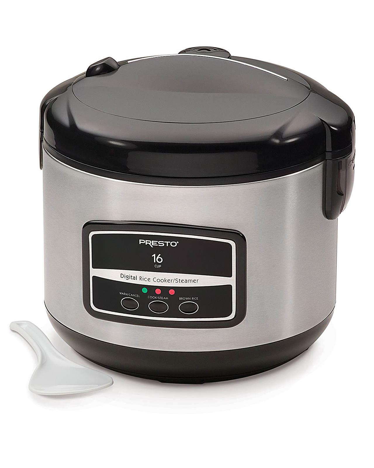Presto 16 Cup Stainless Steel (Silver) Digital Rice Cooker / Steamer - 05813