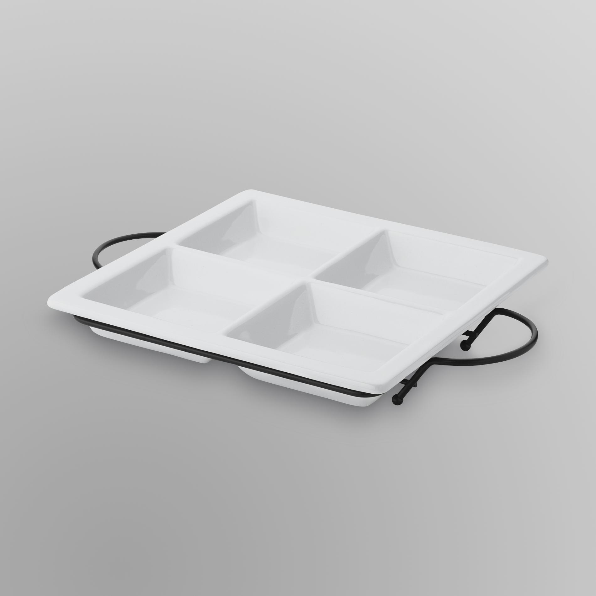 4-Section Serving Tray & Stand