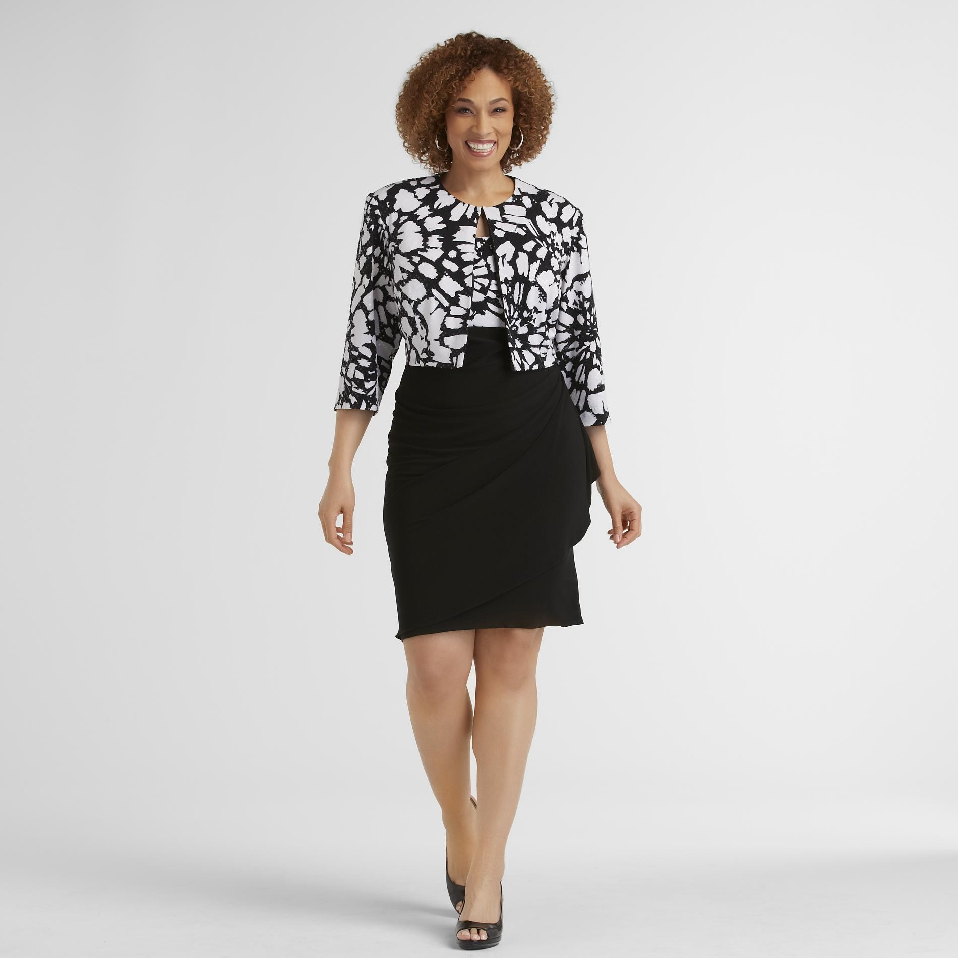 JBS Women's Plus Dress & Jacket - Floral at Sears.com