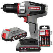Craftsman Bolt-On 20 Volt MAX Drill, Drill Bit and Battery Bundle at Craftsman.com