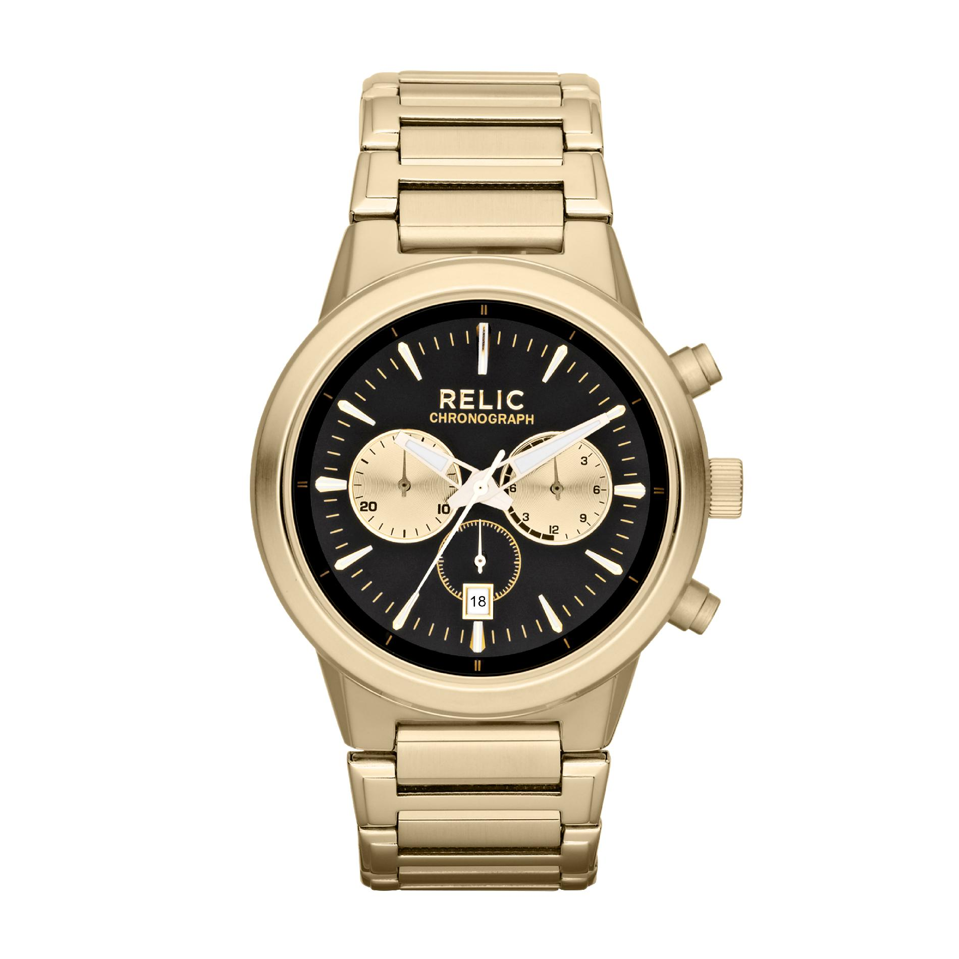 Relic Men's Wrigley Gold-Tone Chronograph Watch w/ Black & Gold Dials