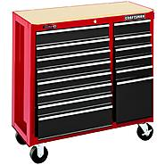 "Craftsman 40"" Wide 14-Drawer Ball-Bearing Tool Cart - Red/Black at Craftsman.com"