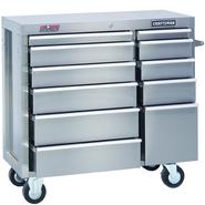 "Craftsman 41"" Wide 11-Drawer Ball-Bearing GRIPLATCH® Tool Cart - Stainless Steel at Craftsman.com"