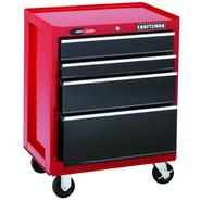 "Craftsman 26"" Wide 4-Drawer Quiet Glide™  Bottom Chest - Red/Black at Craftsman.com"
