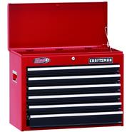 "Craftsman 26"" Wide 6-Drawer Ball-Bearing Top Chest - Red/Black at Kmart.com"