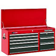 "Craftsman 40"" Wide 8-Drawer Quiet Glide Top Chest - Red/Black at Craftsman.com"