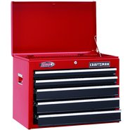 "Craftsman 26"" Wide 5-Drawer Ball-Bearing Top Chest - Red/Black at Sears.com"
