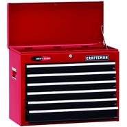 "Craftsman 26"" Wide 6-Drawer Quiet Glide® Top Chest - Red/Black at Kmart.com"