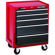 "Craftsman 26"" Wide 5-Drawer Quiet Glide™  Bottom Chest - Red/Black at Sears.com"