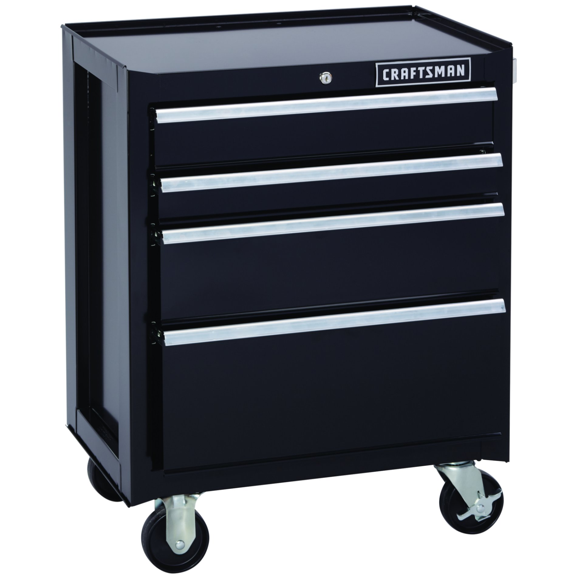 Craftsman 26.5 in. Wide 4 Drawer Wide Bottom Chest, Black