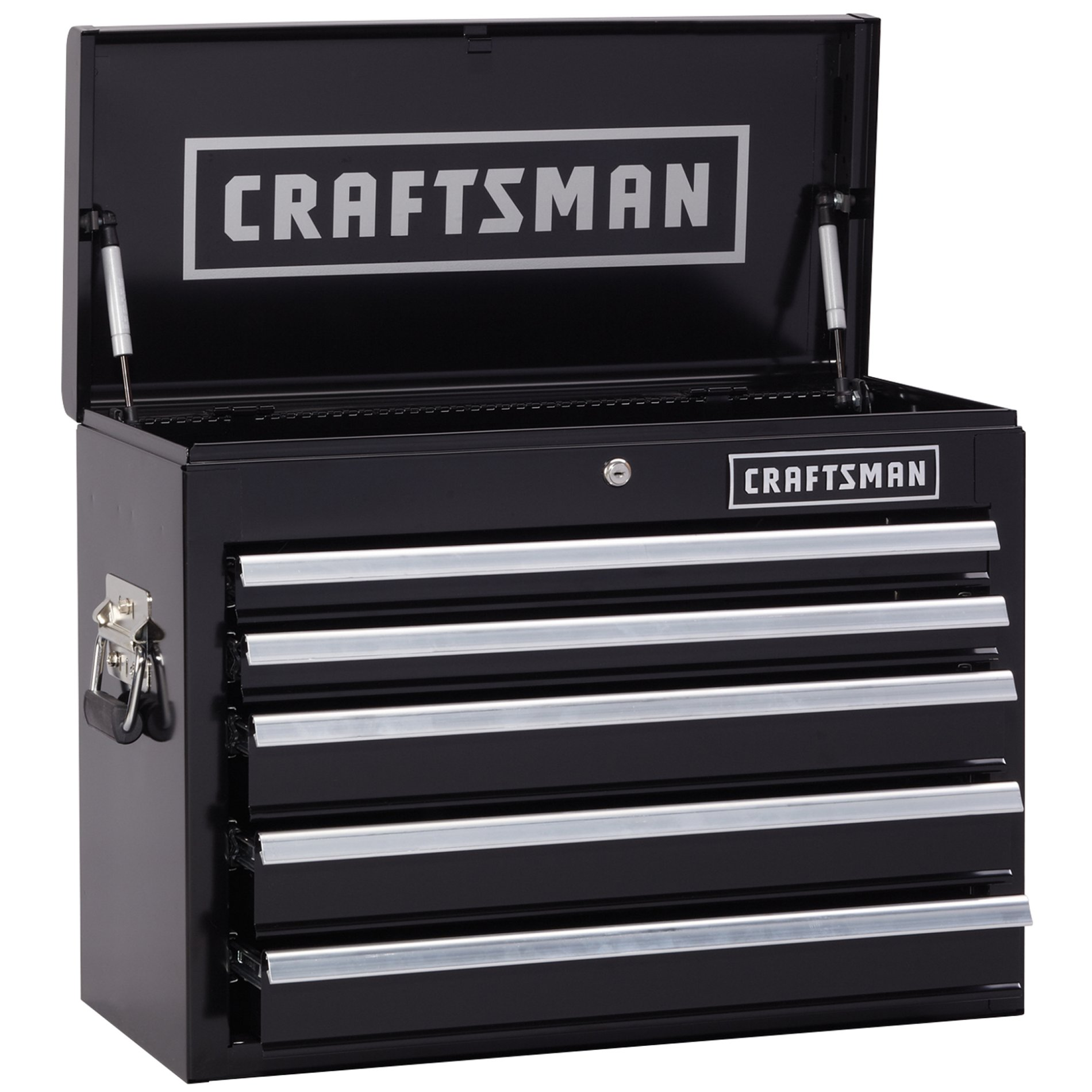 Craftsman 26 in. Wide 5 Drawer Heavy Duty Top Chest, Black