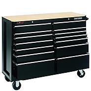 "Craftsman 52"" Wide 14-Drawer Ball-Bearing GRIPLATCH® Tool Cart - Black at Craftsman.com"