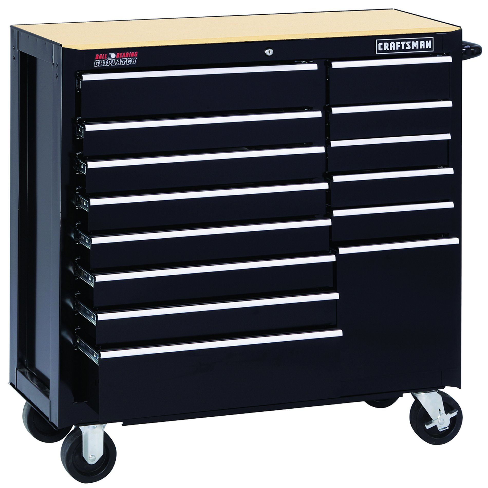 "Craftsman 40"""" Wide 14-Drawer Ball-Bearing Griplatch Tool Cart - Black"