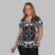 Beverly Drive Women's Plus Peasant Top - Scroll at Sears.com