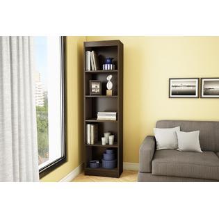 Axess 5-Shelf Narrow Bookcase in Chocolate