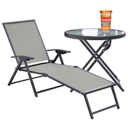 Garden Oasis Chaise Lounge, Side Table & Glassware Bundle at Sears.com