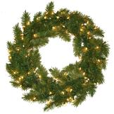 General Foam Pre-Lit Portland Fir Wreath w/ 100 Clear Lights at mygofer.com