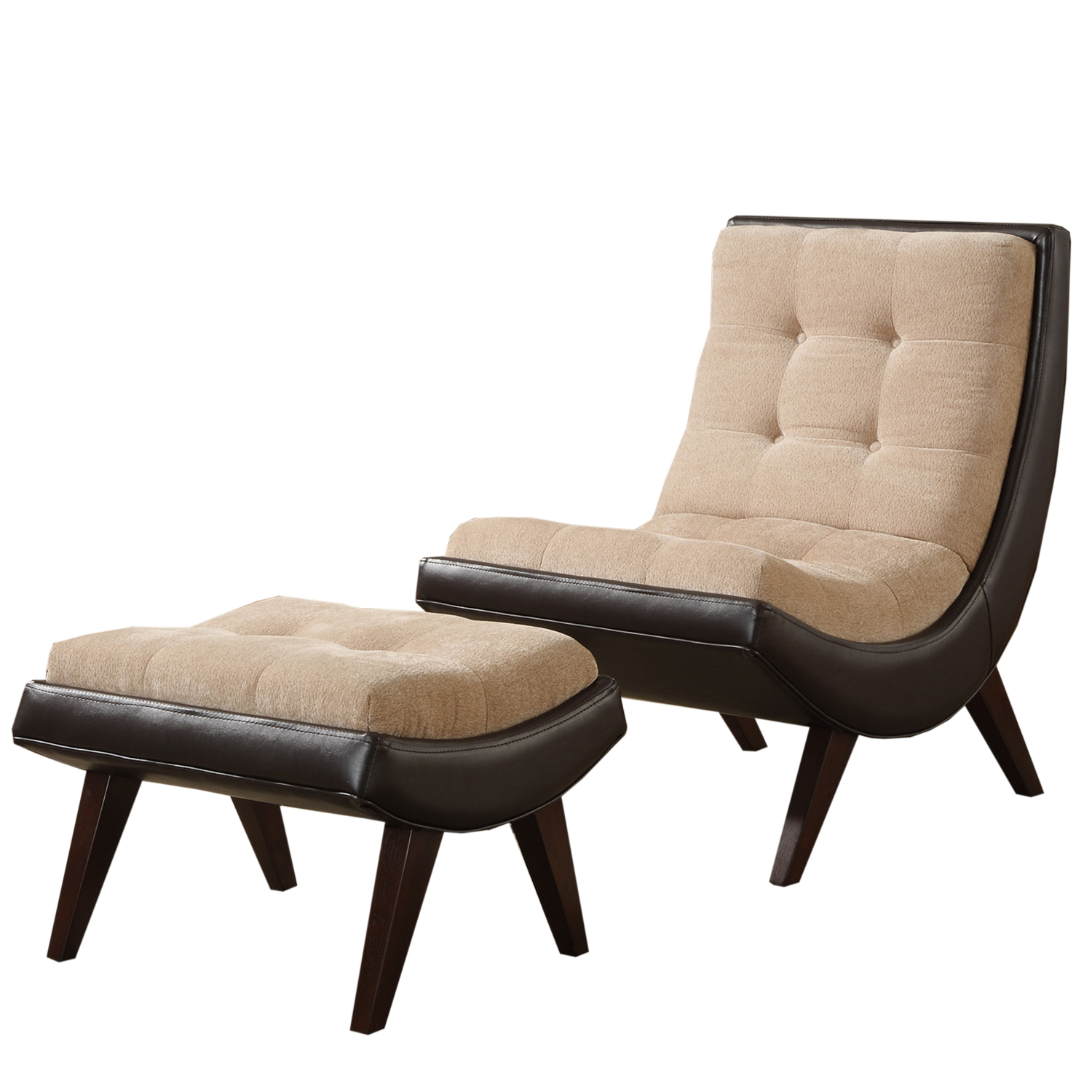 Two-tone Peat Velvet Faux Leather Chair with Ottoman                                                                             at mygofer.com