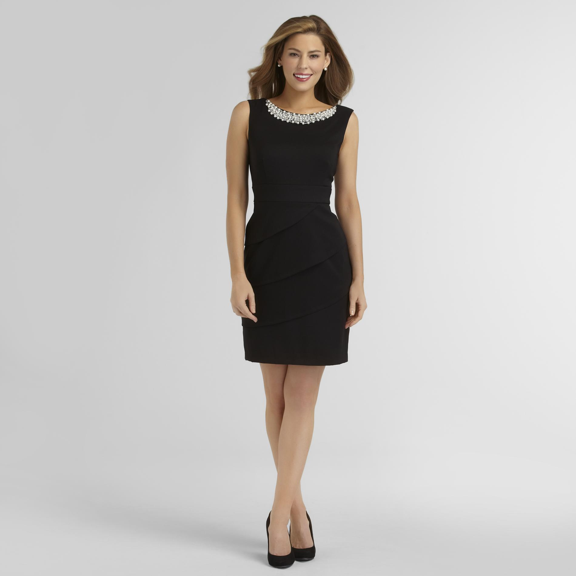 Connected Apparel Women's Sleeveless Tiered Dress - Faux Pearls at Sears.com