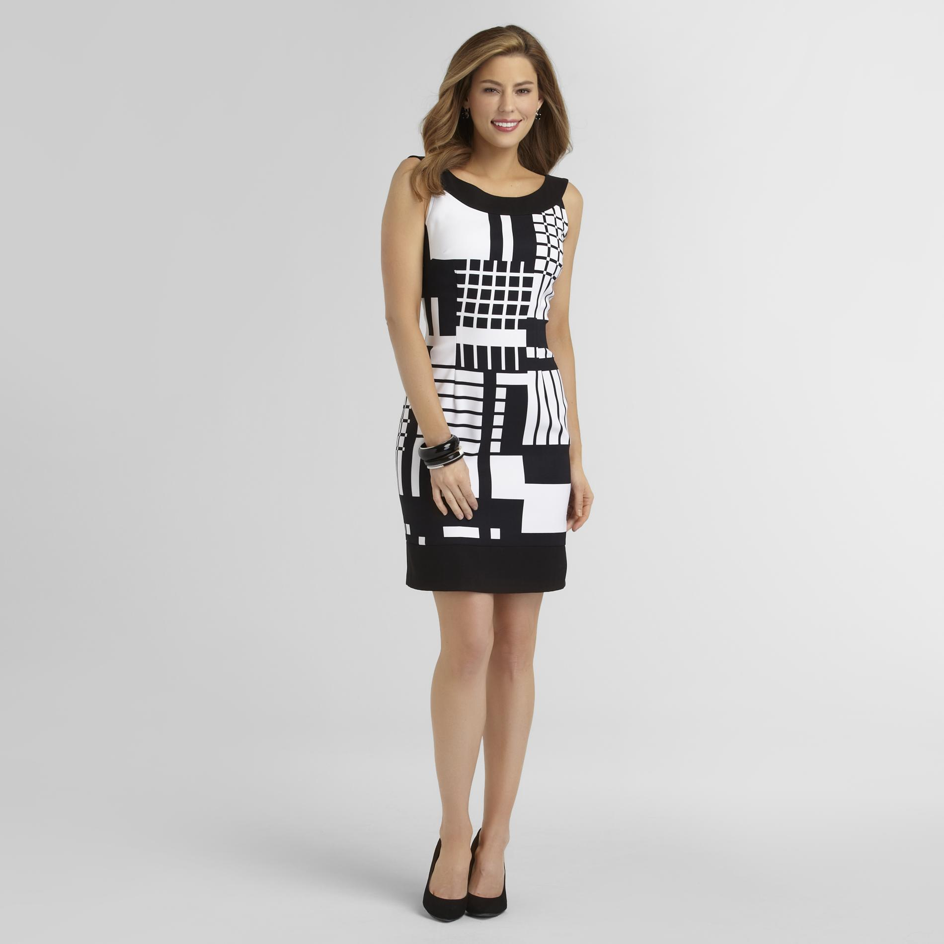 Connected Apparel Women's Sleeveless Pencil Dress - Geometric at Sears.com