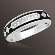1/7 ct. t.w. Round Diamond and Enamel Mens Wedding Band in Sterling Silver at Sears.com