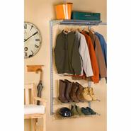 Storability 33 In. L x 63 In. H Garment Wall Mount Storage System with Wire Shelf, (2) Shoe Racks, Clothes Rack & Hardware at Sears.com
