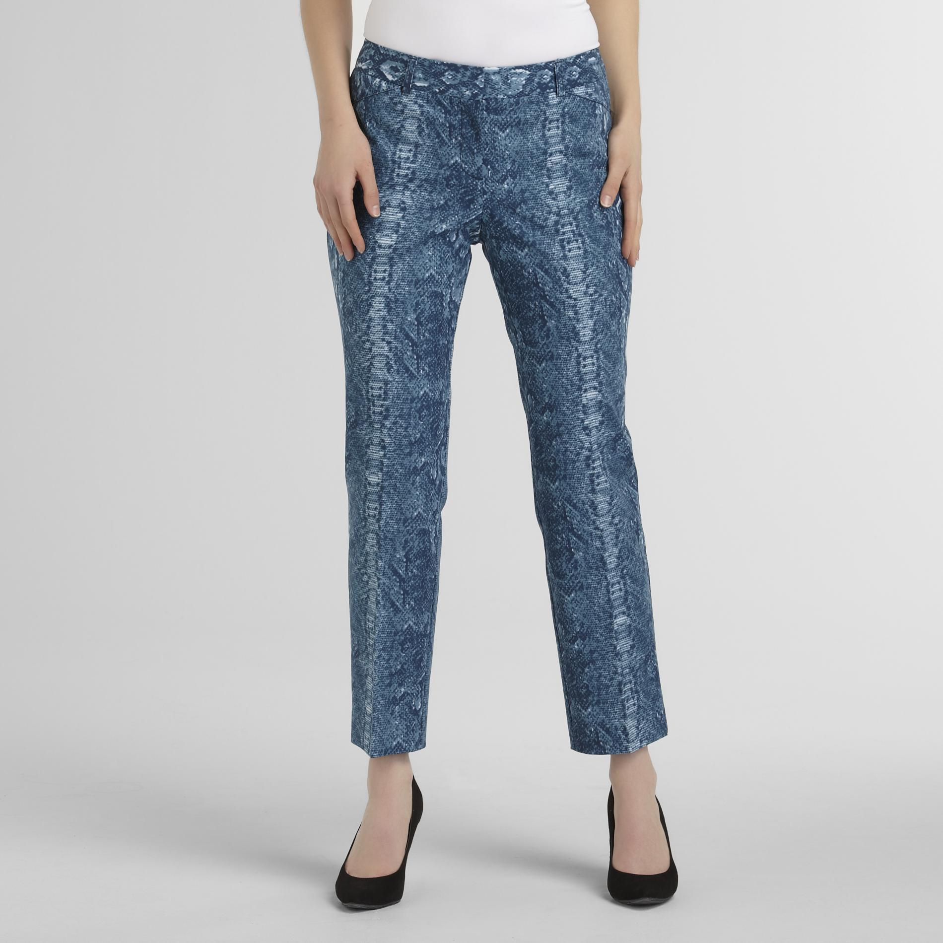 Larry Levine Women's Printed Skinny Leg Ankle Pants - Snakeskin at Sears.com